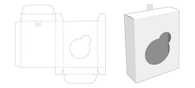 원형 모양의 창 및 교수형 구멍 다이 컷 템플릿이있는 포장 상자