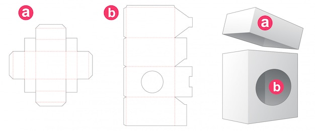 Packaging box with circle window and lid die cut template design