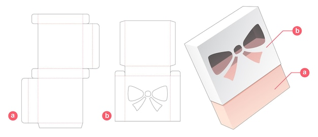 Packaging box with cover which has bow shaped  window die cut template