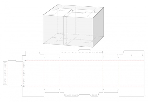 Packaging box with divider die cut template design