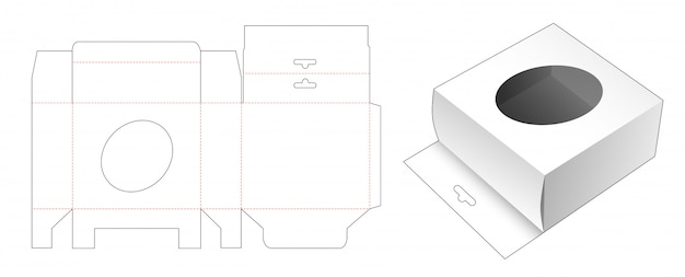 Packaging box with hang hole and ellipse window die cut template design