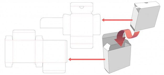 Packaging box with inner shirt die cut template