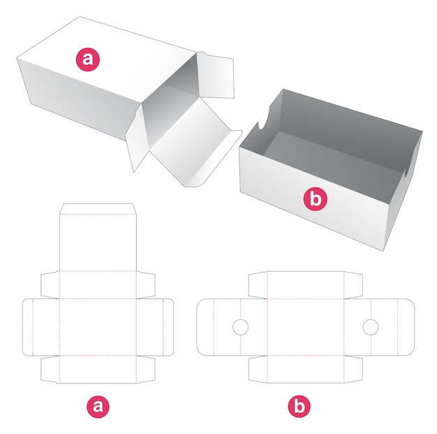 Packaging box with insert tray die cut template