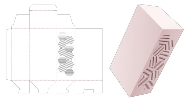 ステンシルの幾何学模様のダイカットテンプレートとパッケージボックス