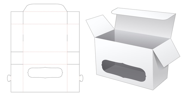 Packaging box with window die cut template