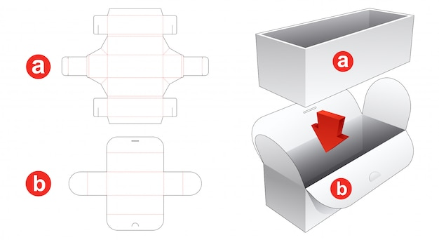 Packaging box and wrapped cover die cut template