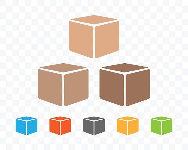 투명한 배경에 다른 색상의 포장 상자.