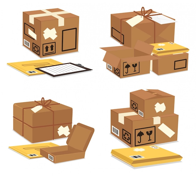 Packaging brown boxes and yellow envelopes
