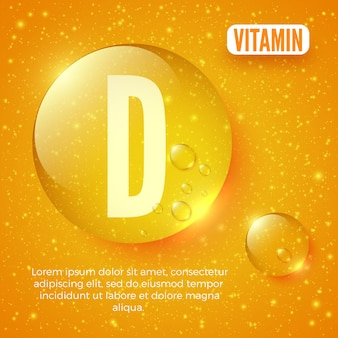 Packaging design for vitamin complex vitamin d capsule shiny golden round drop vector illustration