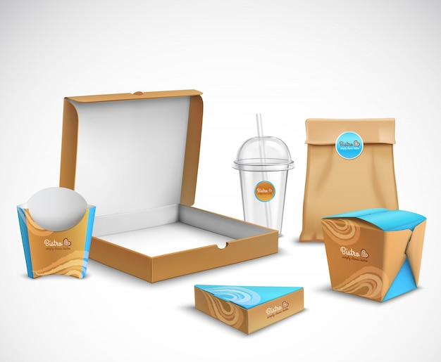 Packaging fast food realistic set