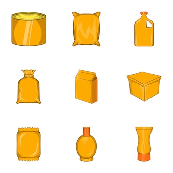 Packaging icons set, cartoon style