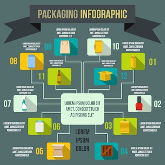 Packaging infographic elements in flat style for any design