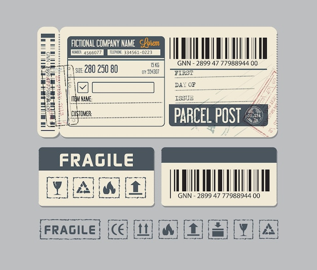 小包郵便または包装用の包装ラベルまたはステッカー
