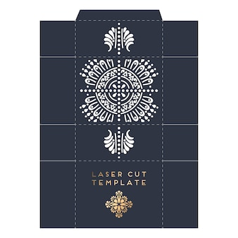Packaging laser cut template with indian mandala design