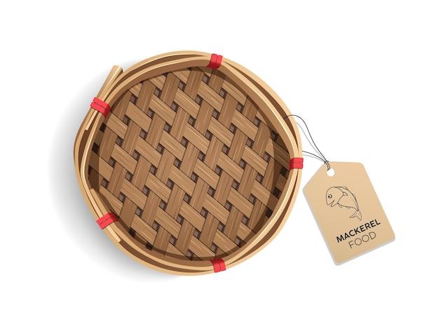 Упаковка скумбрии в корзине продукта реалистичный дизайн шаблона с этикеткой рыбы eps 10 вектор