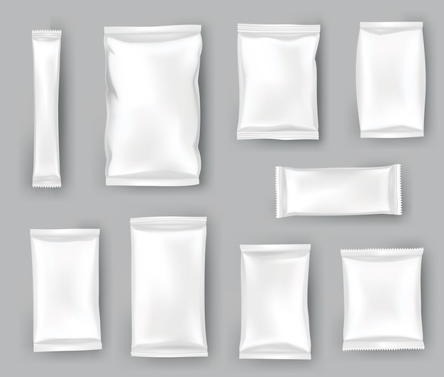 Packaging mockups or pouchs template set. realistic glossy blank of doy pack, chip snacks, candy pack or cosmetic products package. plastic packs template ready for branding.