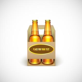 Упаковка пива. реалистичные желтые бутылки