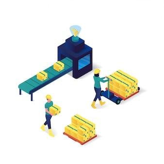 包装プロセス産業と技術等角投影図