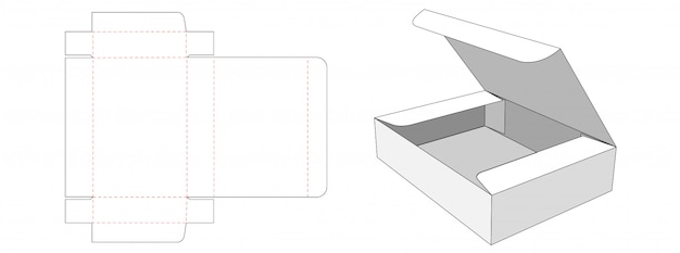 Packaging rectangle box die cut template design