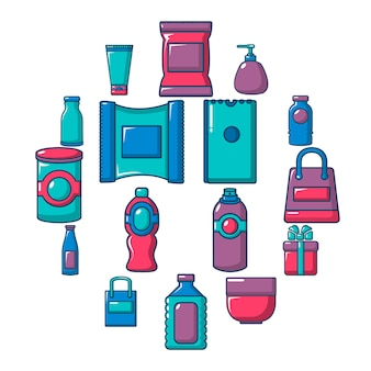Packaging store shop icon set, flat style