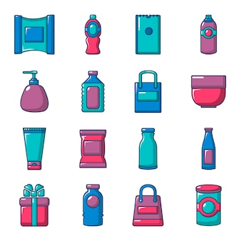 Packaging store shop icons set