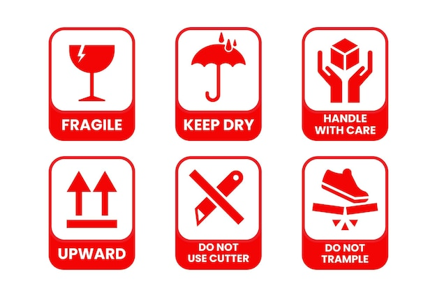 Packaging symbols, fragile and packing care label, vector illustration