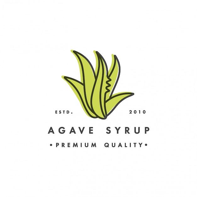 На упаковке шаблона логотип и эмблема - сироп - агава. логотип в модном линейном стиле.