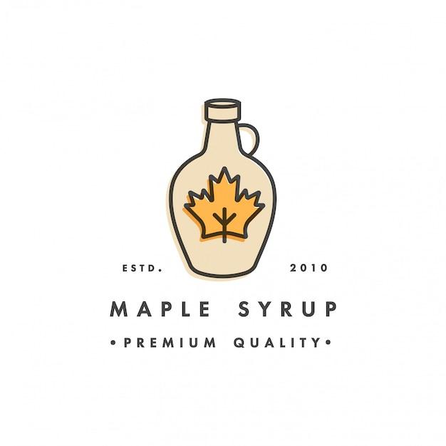 На упаковке шаблона логотип и эмблема - сироп и топпинг - клен. логотип в модном линейном стиле.