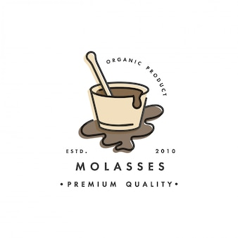 Packaging  template logo and emblem - syrup and topping - molasses. logo in trendy linear style.