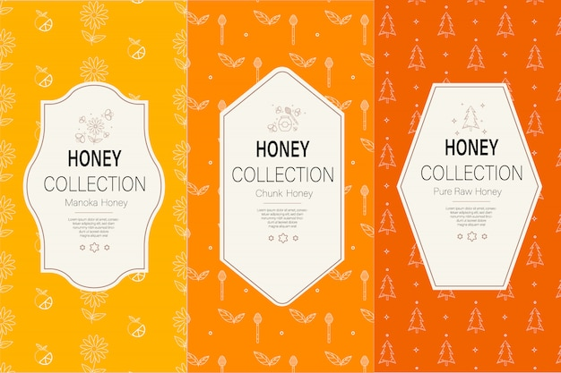 Packaging template with patterns. natural honey collection.