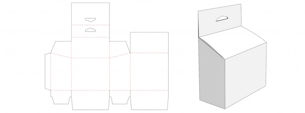 Packaging with hang hole die cut template design