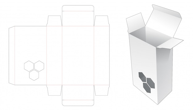 Packaging with hexagonal window die cut template