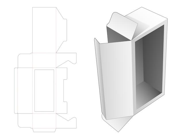 Packaging with large window die cut template