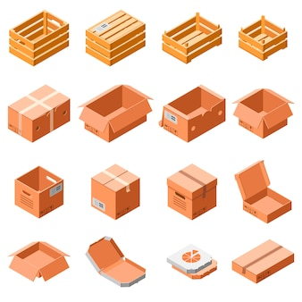 Packing box icon set. isometric 3d set of packing box vector icons for web design isolated