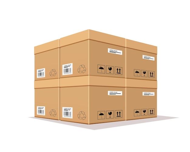 Упаковочная коробка перекрывается реалистично. Premium векторы