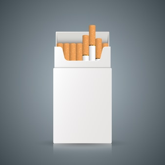 Packing of cigarettes on the grey background.