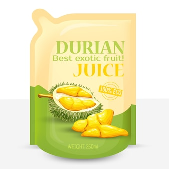 Packing for juice from exotic durian fruit,