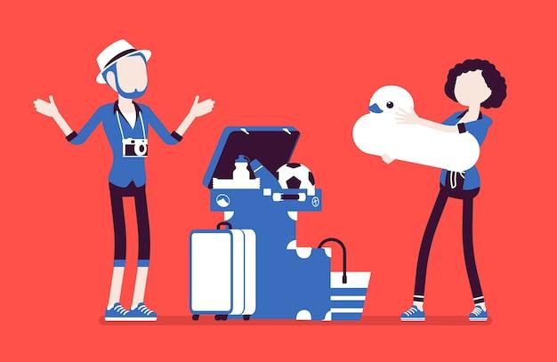 평면 디자인의 여행용 수하물 포장