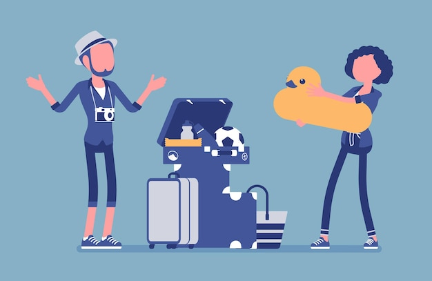 Packing luggage for travel illustration