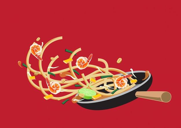Кулинария pad тайский на сковороде. тайская еда.