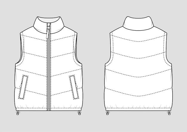 パッド入りの暖かいジレット。ダウンジャケット。ベクトルテクニカルスケッチ。モックアップテンプレート。