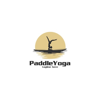 Paddle yoga silhouette logo illustration
