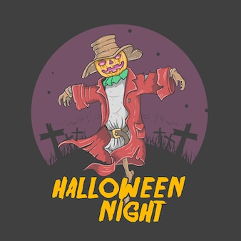 Paddy field halloween night illustration vector graphic