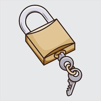 자물쇠 및 키 만화 일러스트 컨셉 디자인입니다. 무료 벡터
