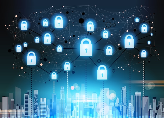 Padlock over cityscape data protection privacy concept