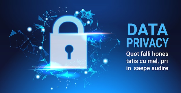Padlock data protection privacy concept