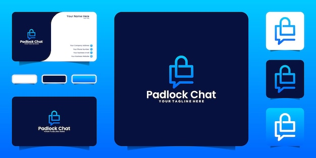 Padlock design logo inspiration and chat template and business card design