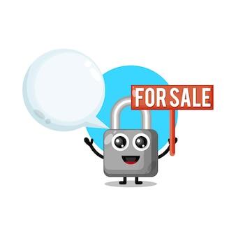 Замок для продажи милый талисман персонажа Premium векторы