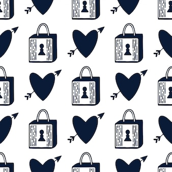Padlock and hearts seamless pattern. black and white. locks romantic design. valentines day repeating pattern.