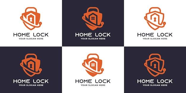 Padlock house technology logo design set